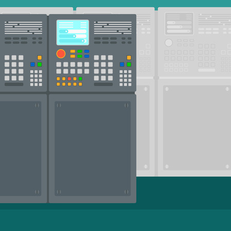 control system: Background of industrial control system vector flat design illustration. Square layout.