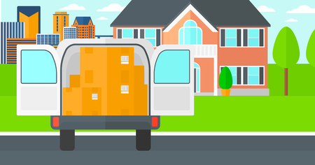 open car door: Background of delivery truck with an open door and cardboard boxes in front of house vector flat design illustration. Horizontal layout.