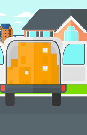 Background of delivery truck with an open door and cardboard boxes in front of house vector flat design illustration. Vertical layout.