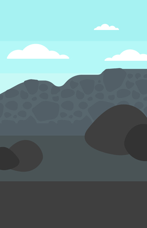 mines: Background of heaps of coal vector flat design illustration. Vertical layout.
