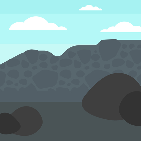 heaps: Background of heaps of coal vector flat design illustration. Square layout.