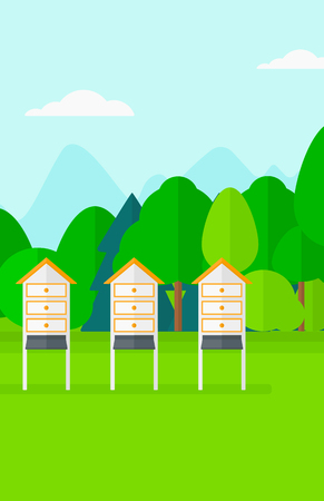 bee garden: Background of beehives in a meadow vector flat design illustration. Vertical layout. Illustration