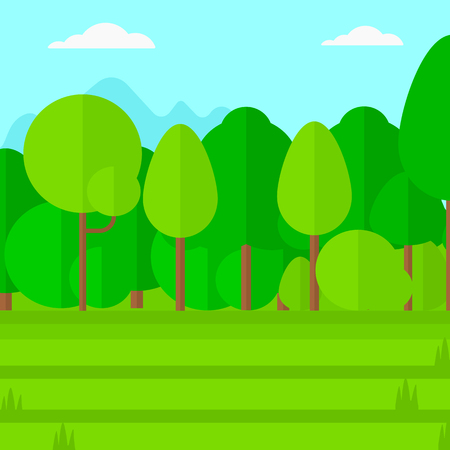cartoon mountain: Background of green lawn with trees vector flat design illustration. Square layout.