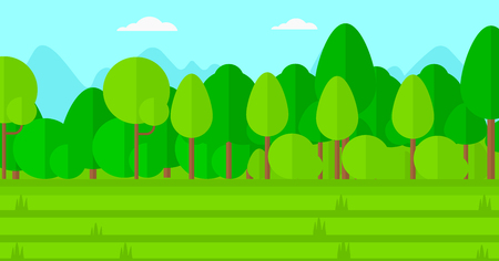 cartoon land: Background of green lawn with trees vector flat design illustration. Horizontal layout.