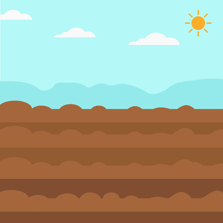Background of plowed agricultural field vector flat design illustration. Square layout.