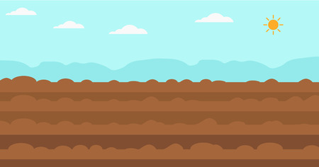 Background of plowed agricultural field vector flat design illustration. Horizontal layout.