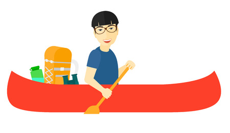 An asian man riding in canoe with a scull in hands and some touristic equipment behind him vector flat design illustration isolated on white background.