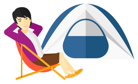 campsite: An asian man sitting in a folding chair at campsite vector flat design illustration isolated on white background.