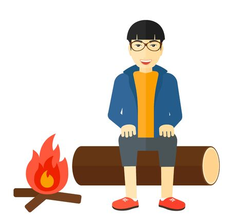restful: An asian man sitting on a log at camp near the fire vector flat design illustration isolated on white background.
