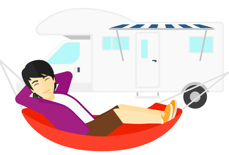 lying in: An asian man lying in a hammock in front of motor home vector flat design illustration isolated on white background. Illustration