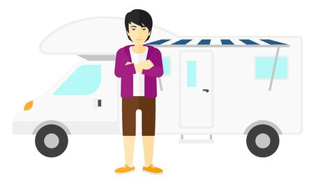 motor home: An asian man standing in front of motor home vector flat design illustration isolated on white background.
