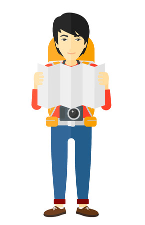 design: An asian backpacker with a camera looking at a map vector flat design illustration isolated on white background. Illustration
