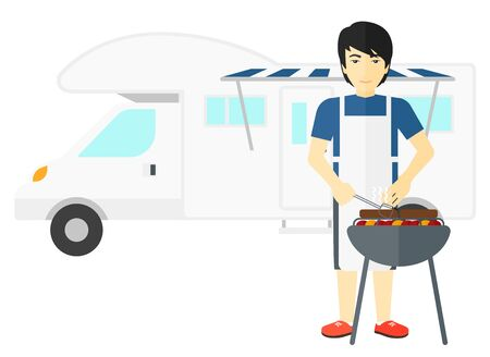 motor home: An asian man preparing barbecue in front of motor home vector flat design illustration isolated on white background.