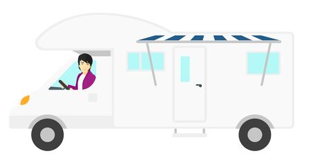 motor home: An asian man driving a motor home vector flat design illustration isolated on white background.