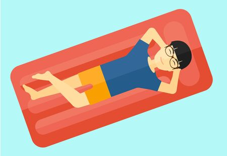 An asian man relaxing on the air bed in the swimming pool vector flat design illustration isolated on white background.