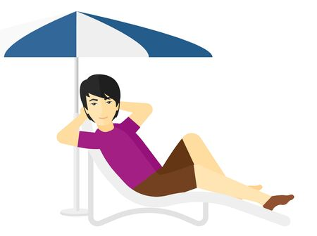 chaise longue: An asian man sitting in a chaise longue under umbrella vector flat design illustration isolated on white background.