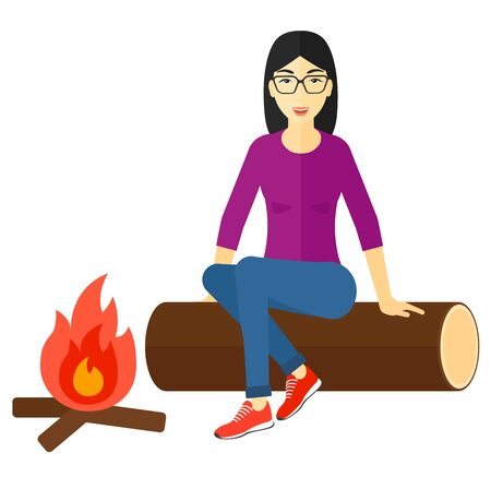 An asian woman sitting on a log at camp near the fire vector flat design illustration isolated on white background.