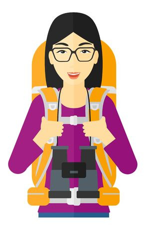 hiking: An asian woman with backpack and binoculars hiking vector flat design illustration isolated on white background. Illustration