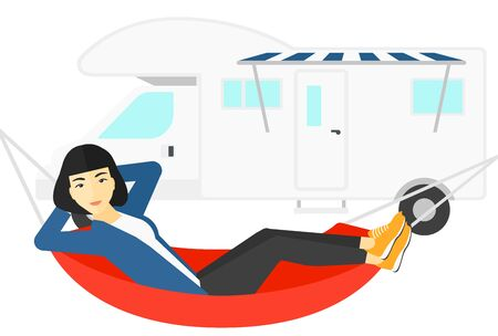 An asian woman lying in a hammock in front of motor home vector flat design illustration isolated on white background. 일러스트