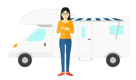 motor home: An asian woman standing in front of motor home vector flat design illustration isolated on white background. Illustration