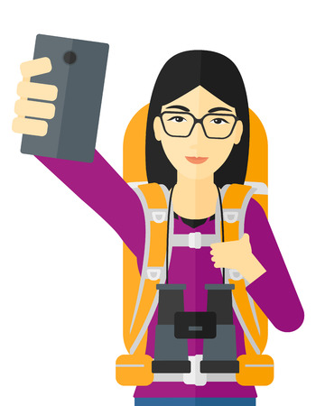 woman cellphone: An asian backpckaer making selfie vector flat design illustration isolated on white background.