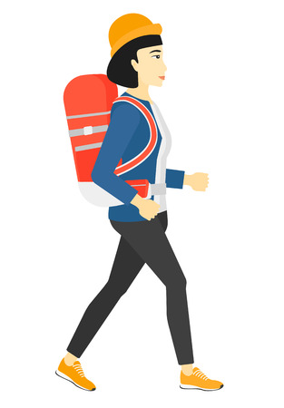 An asian woman with backpack hiking vector flat design illustration isolated on white background.