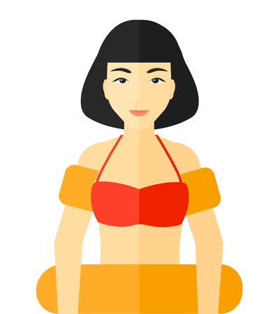 health resort: An asian woman standing in mask, tube and rubber ring vector flat design illustration isolated on white background.