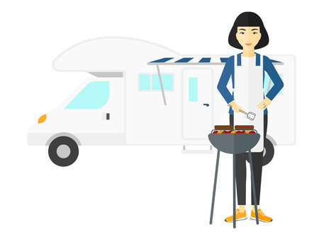 motor home: An asian woman preparing barbecue in front of motor home vector flat design illustration isolated on white background. Illustration