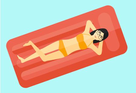 Een Aziatische vrouw ontspannen op het luchtbed in het zwembad vector platte ontwerp illustratie op een witte achtergrond.