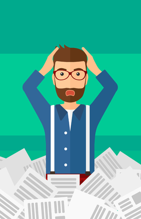 newspaper stack: A stressed hipster man with the beard clutching his head because of having a lot of work to do with a heap of newspapers in front of him vector flat design illustration isolated on light green background. Vertical layout.