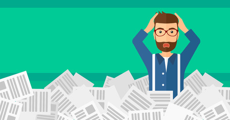 overloaded: A stressed hipster man with the beard clutching his head because of having a lot of work to do with a heap of newspapers in front of him vector flat design illustration isolated on light green background. Horizontal layout.