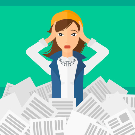 pile of newspapers: A stressed woman clutching her head because of having a lot of work to do with a heap of newspapers in front of her vector flat design illustration isolated on light green background. Square layout.