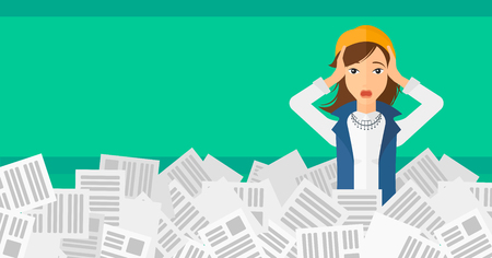pile of newspapers: A stressed woman clutching her head because of having a lot of work to do with a heap of newspapers in front of her vector flat design illustration isolated on light green background. Horizontal layout. Illustration