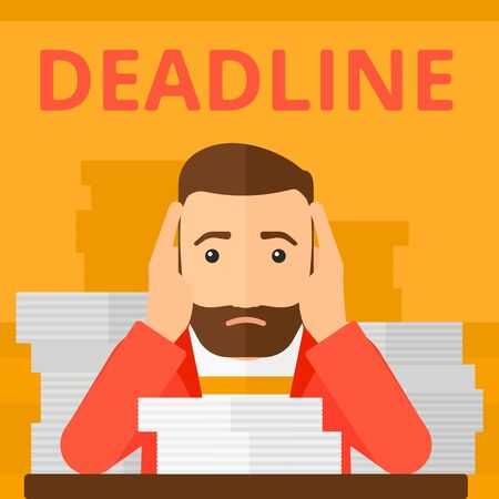 A scared hipster man with the beard  sitting at the table with stacks of papers and having problem with deadline vector flat design illustration isolated on yellow background. Square layout.