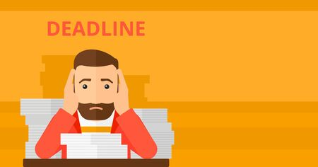 overloaded: A scared hipster man with the beard  sitting at the table with stacks of papers and having problem with deadline vector flat design illustration isolated on yellow background. Horizontal layout.