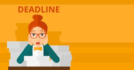 overloaded: A scared woman sitting at the table with stacks of papers and having problem with deadline vector flat design illustration isolated on yellow background. Horizontal layout. Illustration