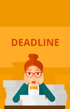 overloaded: A scared woman sitting at the table with stacks of papers and having problem with deadline vector flat design illustration isolated on yellow background. Vertical layout. Illustration