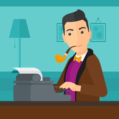 newsman: A reporter writing an article on typewriter and smoking pipe on the background of room vector flat design illustration. Square layout.