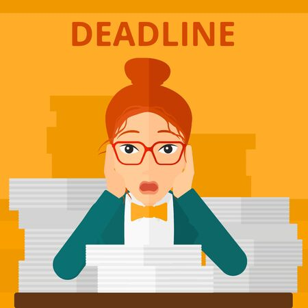 file clerk: A scared woman sitting at the table with stacks of papers and having problem with deadline vector flat design illustration isolated on yellow background. Square layout.