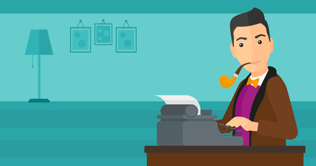 A reporter writing an article on typewriter and smoking pipe on the background of room vector flat design illustration. Horizontal layout.