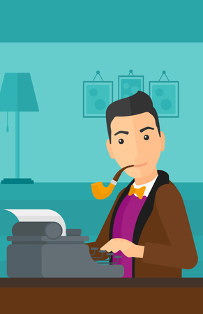 A reporter writing an article on typewriter and smoking pipe on the background of room vector flat design illustration. Vertical layout.