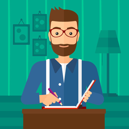 writing letter: A hipster man with the beard sitting at the table and writing an article in writing-pad on the background of room vector flat design illustration. Square layout.