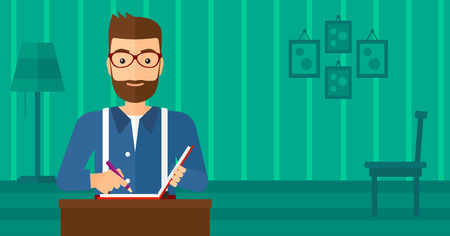 A hipster man with the beard sitting at the table and writing an article in writing-pad on the background of room vector flat design illustration. Horizontal layout.