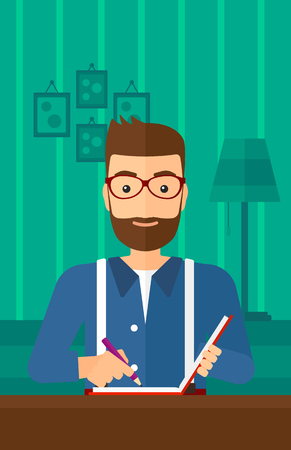 article writing: A hipster man with the beard sitting at the table and writing an article in writing-pad on the background of room vector flat design illustration. Vertical layout.