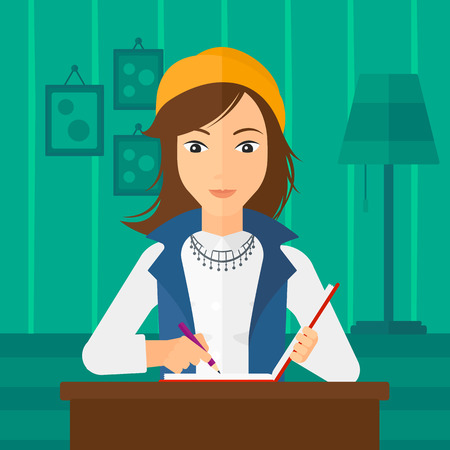article: A reporter sitting at the table and writing an article in writing-pad on the background of room vector flat design illustration. Square layout.
