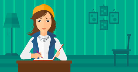articles: A reporter sitting at the table and writing an article in writing-pad on the background of room vector flat design illustration. Horizontal layout. Illustration