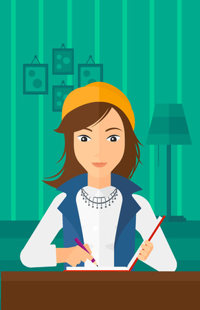 article writing: A reporter sitting at the table and writing an article in writing-pad on the background of room vector flat design illustration. Vertical layout. Illustration