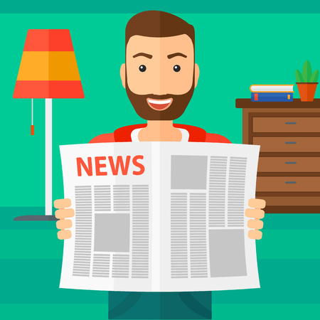 newsman: A happy hipster man with the beard reading the newspaper with his article on the backround of room vector flat design illustration. Square layout.