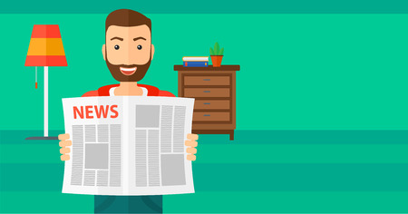 gazette: A happy hipster man with the beard reading the newspaper with his article on the backround of room vector flat design illustration. Horizontal layout.