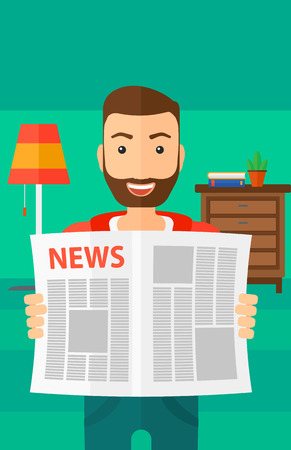 article: A happy hipster man with the beard reading the newspaper with his article on the backround of room vector flat design illustration. Vertical layout.
